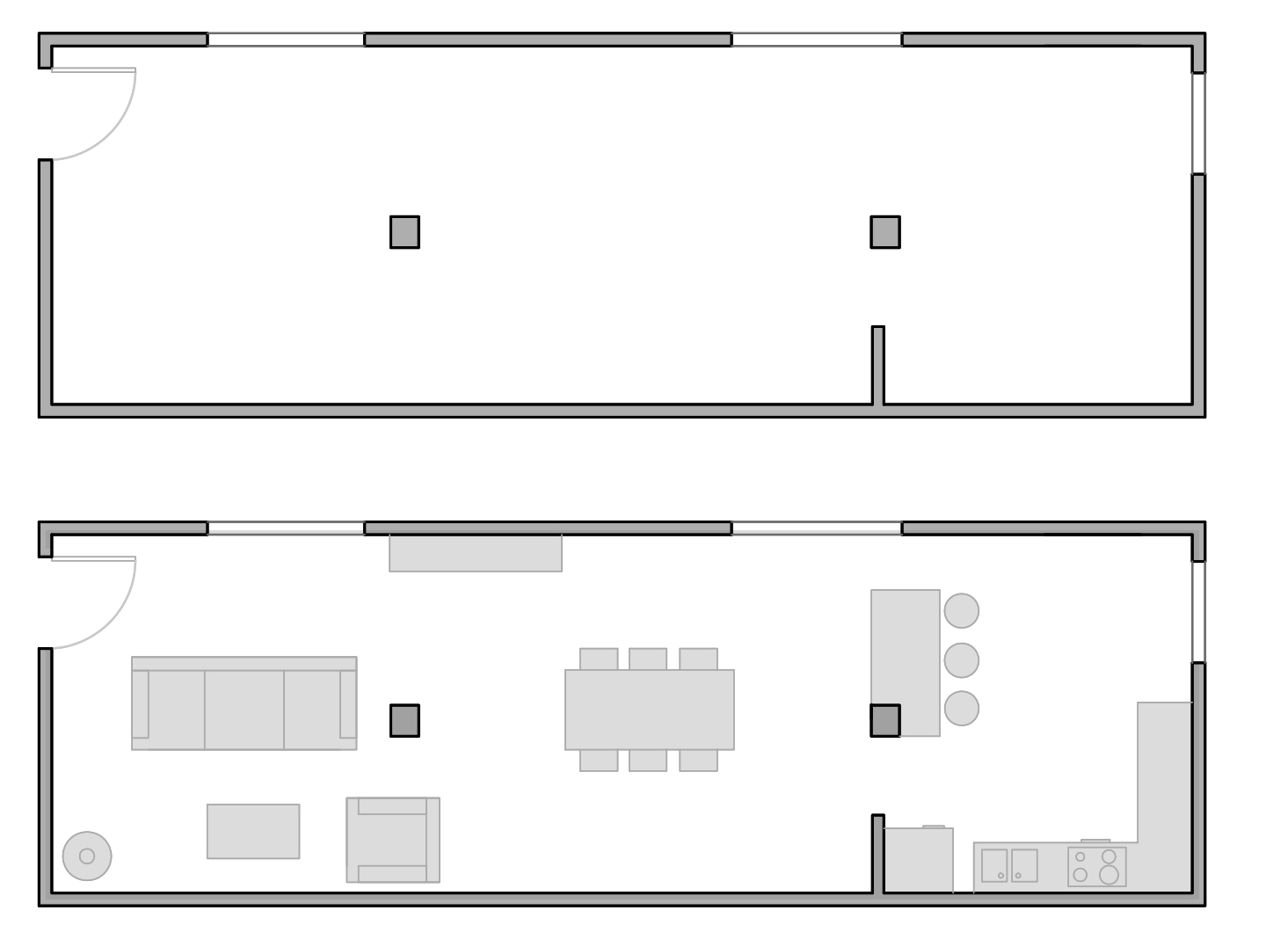 layout with support columns