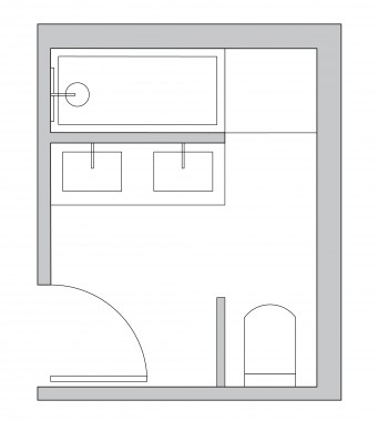 L shaped bathroom layout