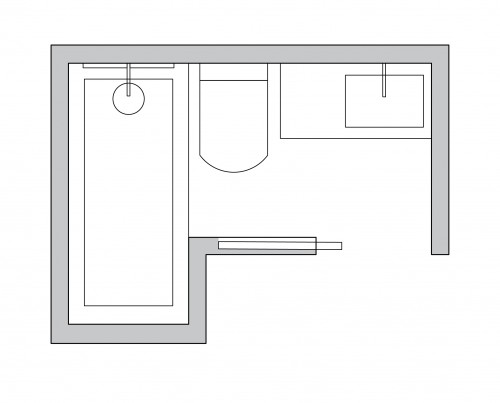 layout for l shaped bathroom